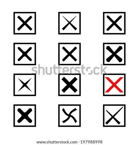 Set of twelve different black and white vector check marks or ticks  in boxes. Vector illustration. - stock vector