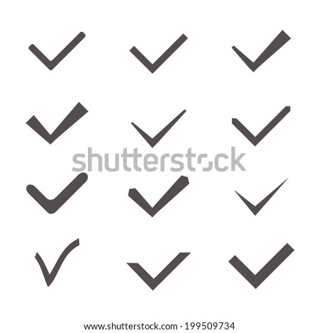 Set of twelve different gray vector check marks or ticks. Vector illustration. - stock vector