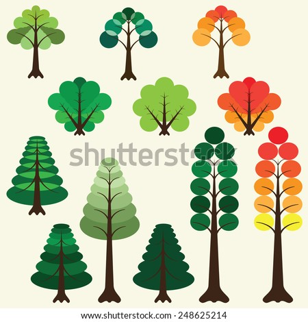 set of twelve different trees and shrubs, autumn and summer colors - stock vector