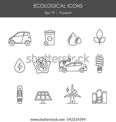 Set of twelve ecology related outlined icons. EPS 10 vector.