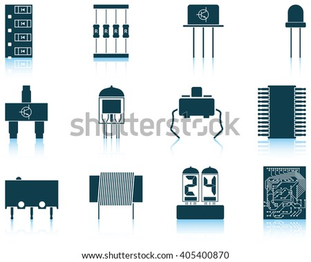 Set of twelve electronic components icons with reflections. Vector illustration. - stock vector