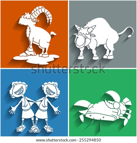 Set of twelve flat cute cartoon zodiacal signs, part 1. Aries, Taurus, Gemini, Cancer. Horoscope collection. - stock vector