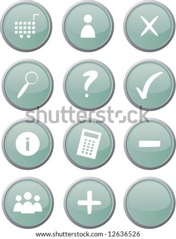 Set of twelve green circle web buttons suitable for web shop / ecommerce purposes; isolated (vector)