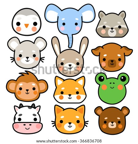 set of twelve illustration of cute cartoon baby monkey, frog, penguin, elephant, cow, mouse, bunny, dog, cat, fox, bear and raccoon on white background. can be used for cards or birthday invitations