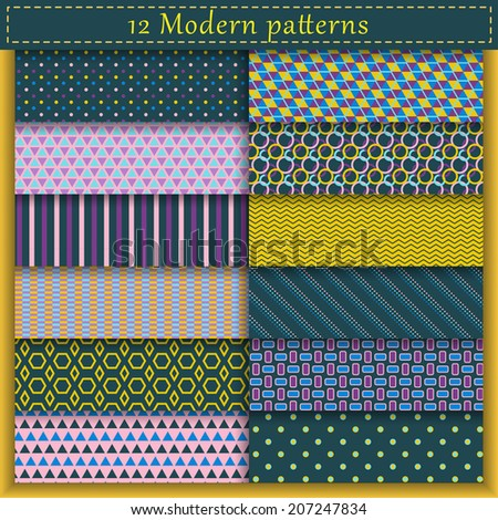Set of twelve modern vector seamless patterns. Endless texture can be used for web design, printing onto fabric and paper or scrapbooking. Blue, purple and yellow colors. Swatches included - stock vector