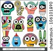 Set of twelve monsters - stock vector