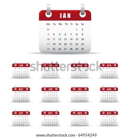 Set of twelve monthly calendars for 2011 - stock vector