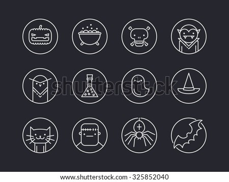 Set of twelve pixel perfect outline circle icons with halloween traditional signs and symbols - stock vector