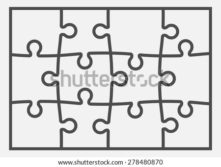 Set of twelve puzzle pieces. Vector illustration, eps 8. - stock vector