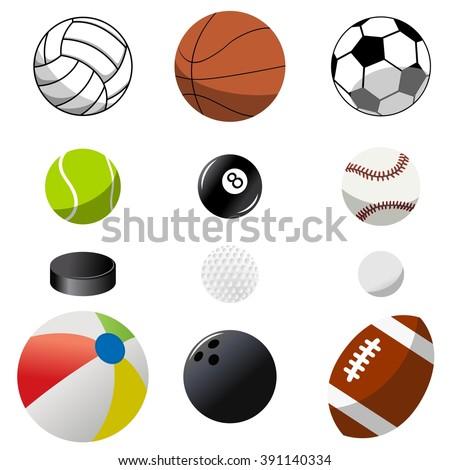 Set of twelve sport ball isolated - stock vector