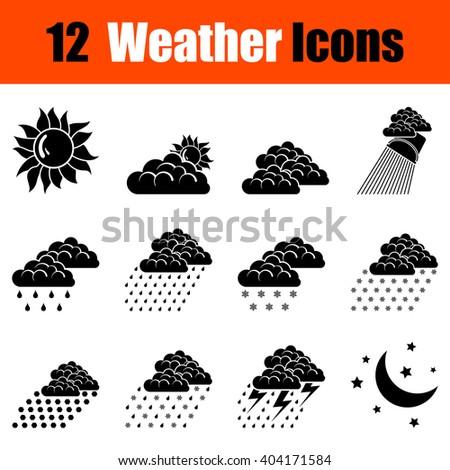 Set of twelve weather black icons. Vector illustration. - stock vector