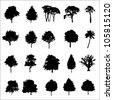 Set Of Twenty Black Vector Silhouettes Trees - stock photo