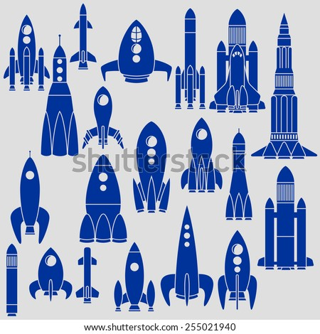 Set of twenty different rockets - stock vector