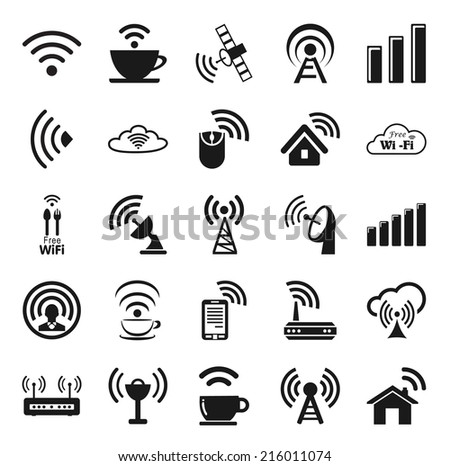 Set of twenty five different black vector wireless and wifi icons for remote access and communication via radio waves - stock vector