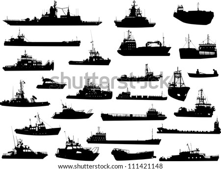 Set of 25 (twenty five) silhouettes of sea yachts, towboat and the ships - stock vector