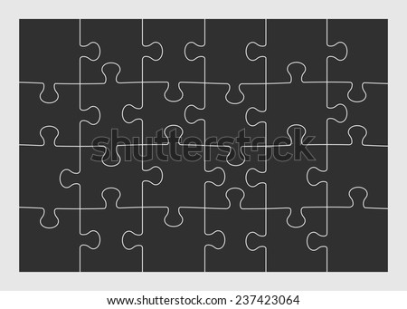 Set of twenty four puzzle pieces. Vector illustration, eps 8. - stock vector