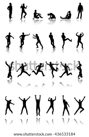 Set of twenty four silhouettes in vector