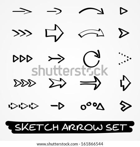 Set of twenty hand drawn black sketch arrows - stock vector