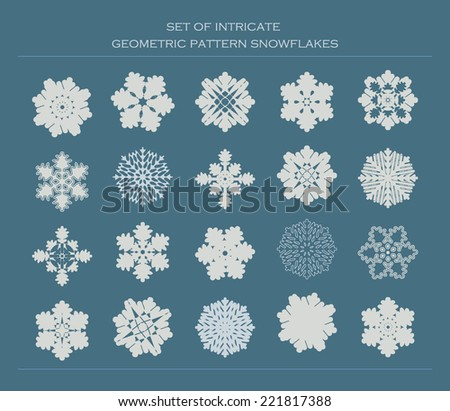 Set of twenty intricate geometric modern pattern snowflakes - stock vector