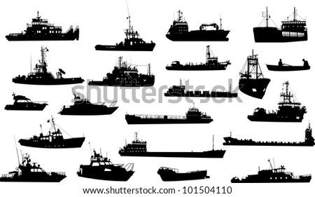 Set of 21 (twenty one) silhouettes of sea yachts, towboat and the ships - stock vector