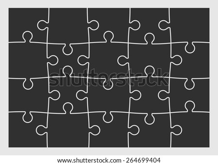 Set of twenty puzzle pieces. Vector illustration, eps 8. - stock vector