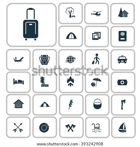 Set of twenty seven travel and camping icons