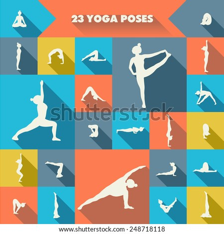 Set of twenty three yoga poses silhouettes. Girl practicing asanas. Colorful background. - stock vector