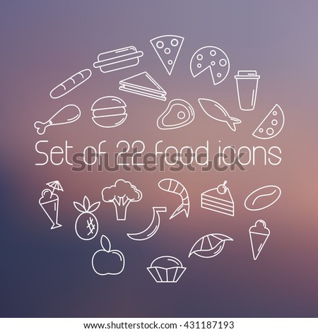 Set of twenty two food icons on blurred background. Outline icons set. Line icon style.