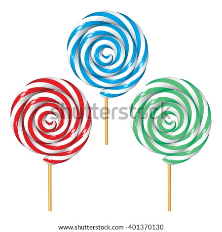 Set of Twisted Lollipops Isolated on White. Low Poly Vector illustration. - stock vector