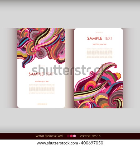 Set of two abstract colorful hand-drawn waves cards.Vector illustration - stock vector