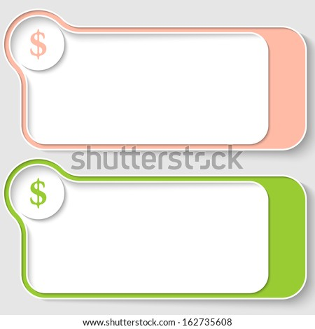 set of two abstract text boxes with dollar sign - stock vector