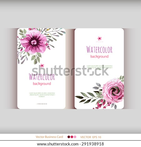 Set of two abstract watercolor cards. Watercolor flowers.Vector illustration - stock vector