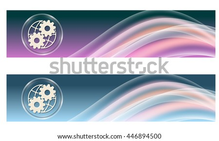 Set of two banners with colored rainbow and cogwheels - stock vector