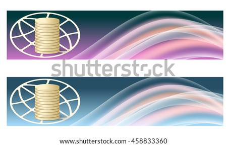 Set of two banners with colored rainbow and coin - stock vector