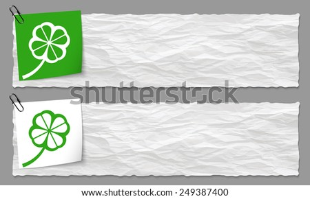 set of two banners with crumpled paper and cloverleaf - stock vector