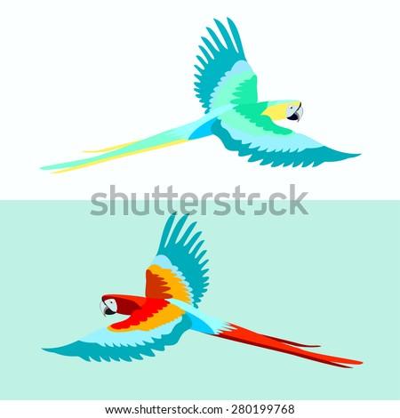 Set of two birds parrots Ara Macao. Bird in flight. Bright beautiful exotic creatures. Vector. - stock vector