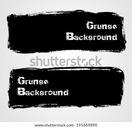 Set of two black grunge banners for your design - stock vector