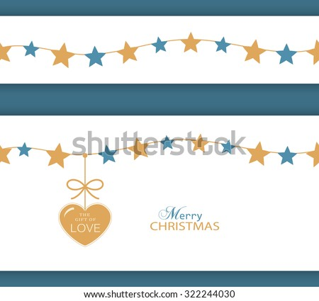 Set of two borders which can be combined and will tile seamlessly. Stars hanging on a string with a heart with ribbon saying The Gift of Love. - stock vector