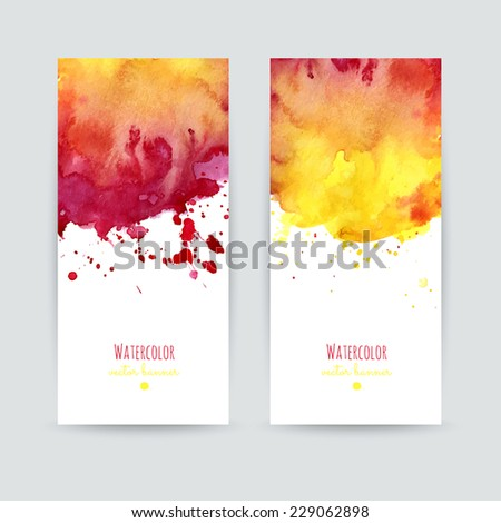Set of two colorful business cards templates. Banners with hand painted watercolor splashes. Greeting cards, invitations, flyers. Vector illustration.  - stock vector