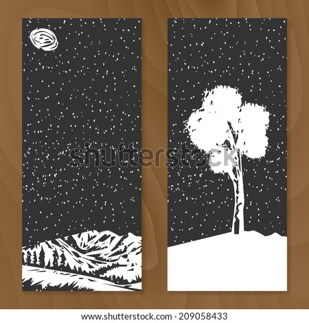 Set of two conceptual nature cards on wood texture. Stylized design elements, for flyer, brochure, invitation, card, banner. Easy to edit. Vector illustration - EPS10.