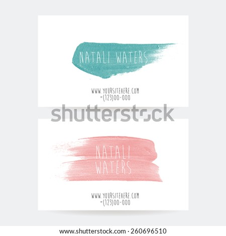 set of two creative business card templates with artistic vector design. Abstract  acrylic splashes. - stock vector