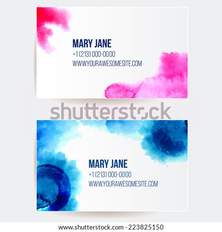 Set of two creative business card templates with artistic vector design. Abstract pink and blue watercolor splashes. - stock vector