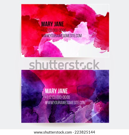 Set of two creative business card templates with artistic vector design. Abstract pink and violet watercolor splashes with grunge texture. - stock vector
