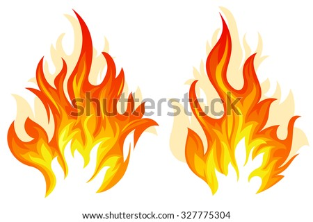Set of two different flame on white background - stock vector