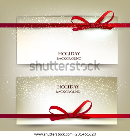 Set of two elegant gift cards with red ribbons.Vector illustration. - stock vector