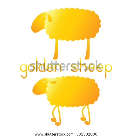 Set of two golden sheep and lettering golden sheep isolated on white background. Logo template, design element - stock vector