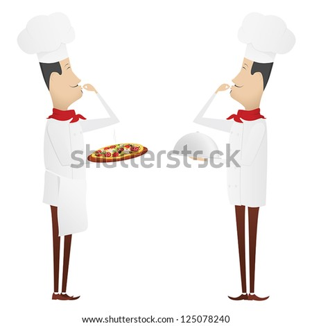 Set of two gourmet chefs - first with silver platter, second with pizza - stock vector