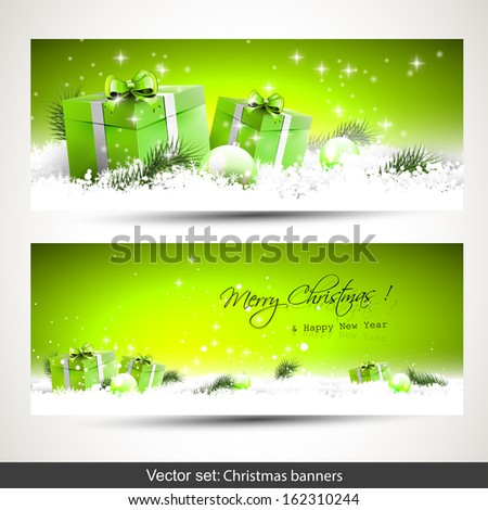 Set of two green horizontal Christmas banners with gift boxes in snow  - stock vector