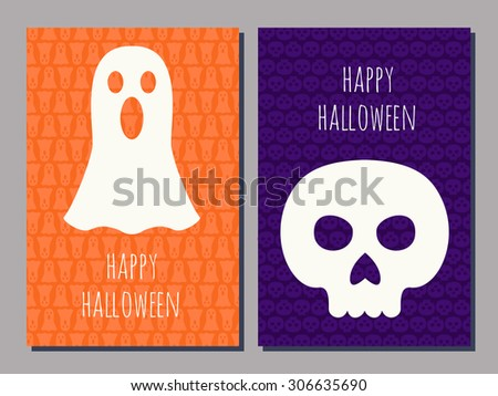 set of two Halloween greeting cards with a scull and a ghost and text Happy Halloween - stock vector
