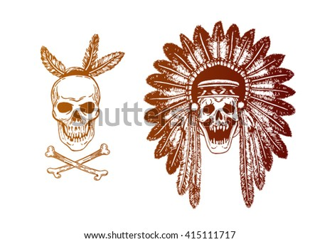 Set of two Hand Drawn American Indian Headdress With Human Skulls. Vector Monochrome Illustration with ethnic elements isolated on white background. Tribal theme